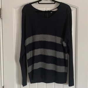 LOFT navy and gray striped sweater - XL